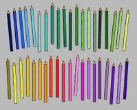 GeïsoleerdeR reeks kleurpotloden Royalty-vrije Stock Fotografie