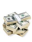 Geïsoleerder Stapels van Geld Stock Foto's