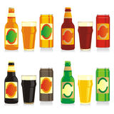Geïsoleerder verschillende bierflessen, blikken en glazen Vector Illustratie