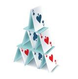 Geïsoleerdes de piramide van speelkaarten Royalty-vrije Stock Fotografie