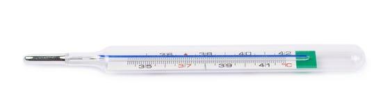 Geïsoleerdes de thermometer van het kwik royalty-vrije stock foto's