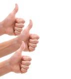Geïsoleerdes duimen omhoog Stock Foto's