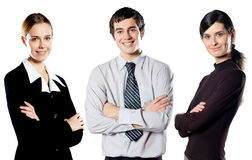 Geïsoleerdes groep jong gelukkig glimlachend commercieel team stock foto's