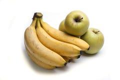 Geïsoleerdet appelen en bananen Stock Foto