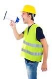 Geïsoleerdet arbeider met helm Stock Fotografie