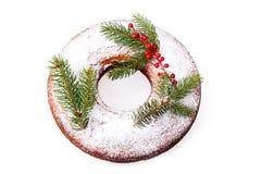 Geïsoleerdet de Doughnut van Kerstmis Stock Afbeelding