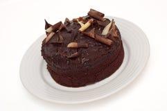 Geïsoleerdet de zachte toffeecake van de chocolade Stock Foto