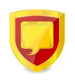 geïsoleerdet het symbool gouden kleur van de embleembespreking Royalty-vrije Stock Foto