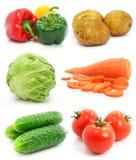 Geïsoleerdet inzameling van rijpe vruchten groenten stock foto