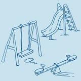 Geïsoleerdet speelplaatsvoorwerpen op blauw Royalty-vrije Stock Afbeeldingen