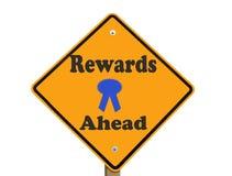 Geïsoleerdeu het teken van beloningen vooruit Stock Foto