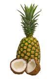 Geïsoleerdev ananas en kokosnoot Stock Afbeeldingen