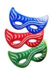 Geïsoleerdew de maskers van Carnaval Stock Afbeelding