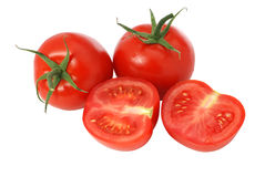 Geïsoleerdew de tomaat van de besnoeiing Royalty-vrije Stock Afbeelding