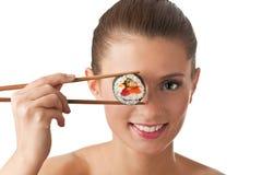 Geïsoleerdew het meisje van sushi royalty-vrije stock fotografie
