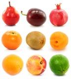 Geïsoleerdew inzameling van rijp fruit royalty-vrije stock foto's