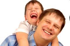 GeïsoleerdeW jongen en vader Stock Foto