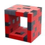 Geïsoleerdew Rode futuristische 3d kubus Stock Foto