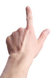 Geïsoleerdey de wijzer van de hand. De pers van de vinger Stock Afbeelding