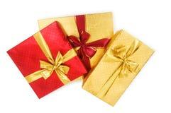 Geïsoleerdez de dozen van de gift stock foto's