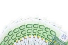Geïsoleerdg honderd euro bankbiljetten 2 Stock Foto's
