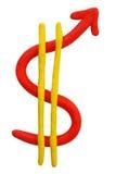 Geïsoleerdi de dollarteken van de plasticine Royalty-vrije Stock Afbeeldingen