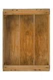 Geïsoleerdi oud houten boomgaardkrat. Stock Fotografie