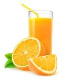 Geïsoleerdk jus d'orange Stock Afbeeldingen