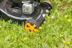Geïsoleerdk op witte achtergrond, het knippen weg Maai het gazon met een grasmaaimachine stock afbeelding