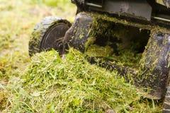 Geïsoleerdk op witte achtergrond, het knippen weg Maai het gazon met een grasmaaimachine royalty-vrije stock afbeeldingen