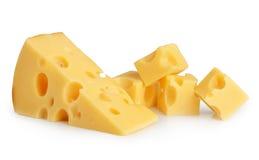Geïsoleerdk stuk van kaas royalty-vrije stock afbeelding
