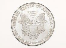 Geïsoleerdk zilveren muntstuk Stock Fotografie