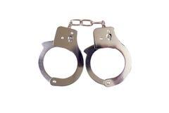 Geïsoleerdl Handcuffs Stock Foto's