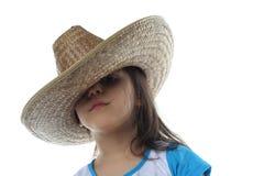 Geïsoleerdm meisje in hoed Stock Afbeelding