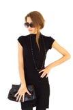 Geïsoleerdn meisje in zwarte kleding Royalty-vrije Stock Foto's