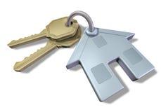 Geïsoleerdo huis en sleutels Stock Afbeelding