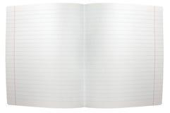 Geïsoleerdp uitgespreid blad van gevoerd notadocument Stock Afbeelding
