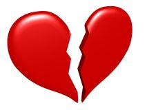 Geïsoleerdr gebroken hart Stock Afbeeldingen