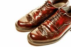 Geïsoleerdr paar ouderwetse bruine schoenen Royalty-vrije Stock Foto's