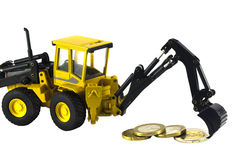 Geïsoleerdr tractor en geld Stock Afbeelding
