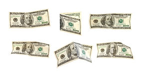 Geïsoleerdt 100 de dollar van de V.S. bankbiljetten Stock Afbeeldingen