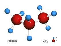 Geïsoleerdt 3D model van een molecule van propaan Stock Afbeelding