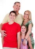 GeïsoleerdT portret van gelukkige familie Royalty-vrije Stock Foto's
