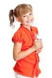 Geïsoleerdu het meisjesportret van de school met waterglas Stock Afbeelding