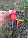 Geófono sísmico con los cables y los interruptores fotografía de archivo