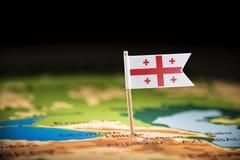Geórgia identificou por meio de uma bandeira no mapa fotografia de stock