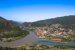 geórgia Mtskheta Os rios de Kura e de Aragvi fotos de stock