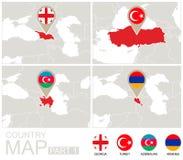 Geórgia, Turquia, Azerbaijão, Armênia no mapa de Europa Fotos de Stock Royalty Free