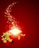 Geöffnet erforschen Sie Geschenk mit Fliegensternen Stockfotos