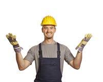 Geöffnete Arme des Heimwerkers lizenzfreie stockfotos